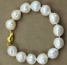 12-14MM Round baroque pearl double bracelet 18K gold clasp natural Cultured REAL