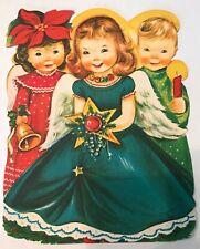Charlot Byi Jolly Jumbo Unused Christmas Card Envelope Angel Girl Boy Bell Cute