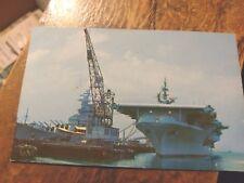 Norfolk VA Naval Base Aircraft Carrier & Battleship  Chrome  Postcard  Un-posted