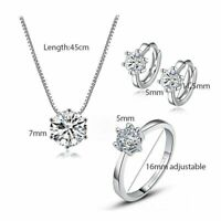 Schmuck Set 925 Sterling Silber 6 Krallen Zirkonia Halskette Ohrringe Ring Damen