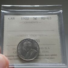 1922 Canada 5 Cents ICCS MS-63 - Book Value $175 - Great Eye Appeal