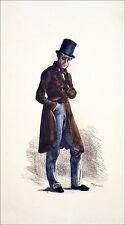 MAÎTRE d'ÉCOLE du temps de BALZAC - Gravure 19eme en couleur (de Meissonier)