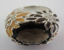QVC David Sigal Sterling Silver 925 Enamel Floral Smoky Quartz Ring Size10