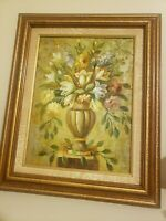 R. Wilcox Oil Painting Still Life Floral Large Original with Ornate Frame.