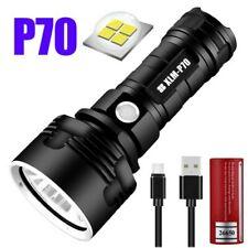 90000Lm Flashlight CREE LED P70 Super-Bright Tactical Torch USB +5000Mah Battery