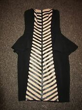 BNWT £60 UK 6 Lipsy Dress Black Nude Peplum Pencil PU Leather Chevron Stripe