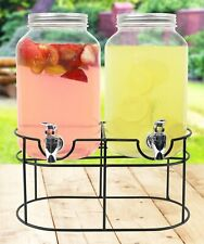 Glass Mason Jar Double Beverage Drink Dispenser Metal Stand Leak Free Spigot New