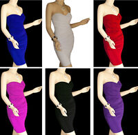 Clubwear Fitted Style Strapless Cocktail Party Womens Mini Short Dress S M L XL