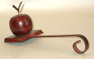 "9.5"" Apple Shape Hanger Holder Fireplace Mantle Holiday Distressed Metal FREE SH"