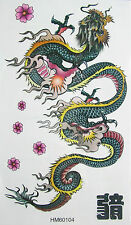 KH Big Green Dragon with Fire Non Glitter Temporary Tattoos #HM062 New Arrival!