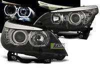 Coppia di Fari Anteriori per BMW Serie 5 E60 E61 2003-2007 LED Angel Eyes H7 LPB
