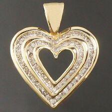 Solid Yellow Gold & Channel Set Diamond, Open Heart Estate Charm, Pendant