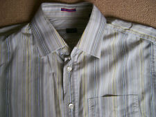 mens designer paul smith shirt 41 chest 16 collar , white yellow brown , cotton
