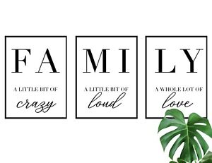 Set of 3 Family Wall Art Quote A3 A4 Print Poster Home Decor Love Gift Idea