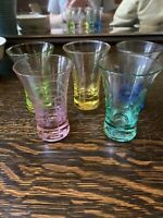 Jewel Stone Crystal Shot Glasses Set 5 Cordial Cut Crystal