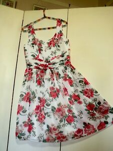 review rose print 1950s style chiffon dress much prettier in real life than pic