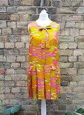 Vintage Dress Silk Pucci-esque Psychedelic Orange & Pink GoGo Mod Shift Wow! | 8