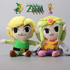 "2X The Legend of Zelda Princess Zelda Link Nintendo Stuffed Animal Plush Toy 7"""