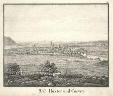 Höxter und Corvey, Original-Lithographie von 1835
