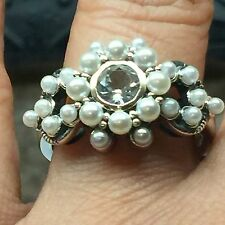 Natural 0.5ct Aquamarine Seed Pearl 925 Solid Sterling Silver Victorian Ring 7
