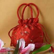 Beautiful Chinese Handmade Red Embroider Flower Silk Handbag Coin Purse Bag