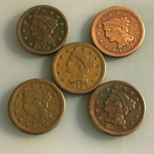 Braided Hair Variety, large Us cents,1848,1851,1853,1854 ,1857. Maybe Vf to Vf+