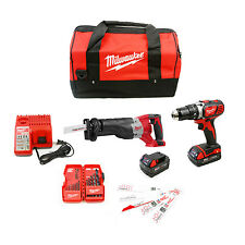 Milwaukee 2694-22CX M18 Cordless 2-Tool Combo Kit Free Blade & Bit Sets