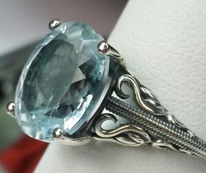 3.4ct Natural Aquamarine Sterling Silver Swan Swirl Filigree Ring (Custom-Made)