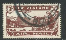 New Zealand 1931 Plane/Lake 3p chocolate Airmail--Attractive Topical (C1) used