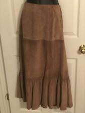 Weekend MaxMara- Brown Genuine Suede Leather A-line Midi Skirt- Sz 12
