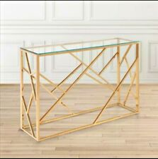 Modern Console Glass Cage Table - Rose Gold