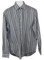 Robert Graham Mens Black Gray White Striped  Button Down Dress  Casual Shirt SzL