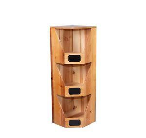 Wickerfield Wood Corner Shelf 3 Tier Unit Plants Stand Storage Display Shelf