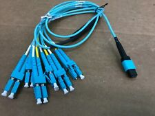 1Meter 12 STRAND MTP MPO (Female) -LC Fan Out OM4 Fiber Optic Patch Cable AQUA