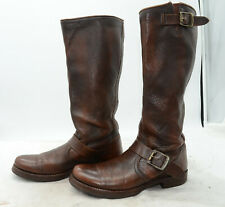 "FRYE Women's Sz 7 ""Veronica Slouch"" Belted Leather Riding Biker Tall Boots"