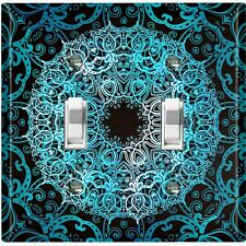 Metal Light Switch Cover Wall Plate Teal Black Mandala Circle Pattern MDL009