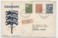 1947 Denmark semipostal set on first day cover to Canada [S.134]
