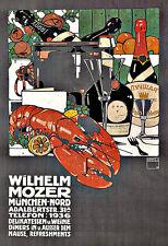 Art ad Munich Delicatessen Wilhelm Mozer langosta vinos finos Deco cartel impresión
