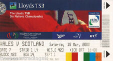 WALES v SCOTLAND (Rugby Union Six Nations 18.3.2000) Used Match Ticket