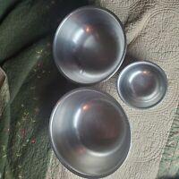 Vintage  Stainless Steel Metal Stacking Mixing Bowls Set of 3