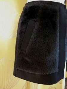 Balenciaga GHESQUIERE SKIRT BLACK FELTED WOOL & FAUX FUR MINI  Size F38 UK 10