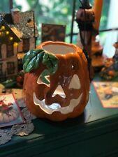 Blue Sky Ceramics Goldminc Halloween Jack-O-Lantern Candle Votive Holder New!