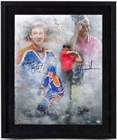 "TIGER WOODS / WAYNE GRETZKY Hand Signed Framed ""Rarefied Air"" 16 x 20 UDA LE 100"