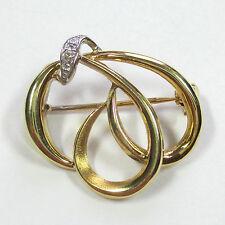 656 - Aparte Brosche aus Gelbgold 585 mit Diamant ---  -2003-