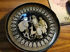 Vintage 24 k gold decorative Hand Painted Black Plate From Greece aptemis