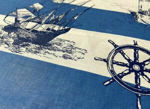 50x160 cm Marine Blau Weiß Schiff  Yacht Baumwolle Stoff Patchwork Kinder Nähen