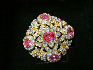 Joan Rivers Pink & Clear Swarovski Crystal Pin/Brooch Gold Tone Signed with Box