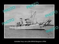 OLD LARGE HISTORIC PHOTO OF AUSTRALIAN NAVY SHIP HMAS KANGAROO c1950