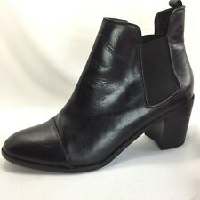 Steven by Steve Madden Imaginn Black Leather Booties Ankle Heel Boots Womens 9.5