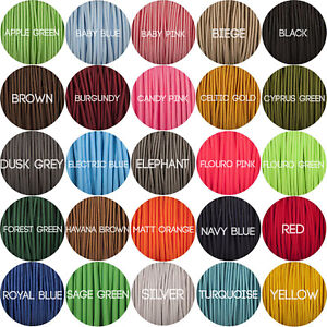 Round fabric lighting cable braided - 3 Core - various colours - free UK P&P